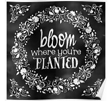 Bloom Where You're Planted Chalkboard Poster Poster