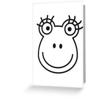 Comic Frog Girl Face Greeting Card