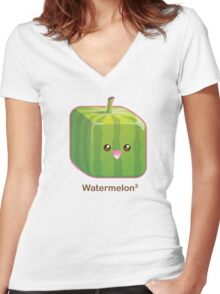 Cute Square Watermelon Women's Fitted V-Neck T-Shirt
