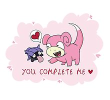Valentines - Slowpoke and Shellder  Photographic Print
