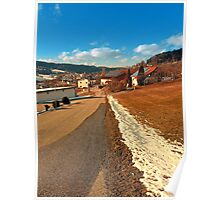 Country road in winter village scenery | landscape photography Poster