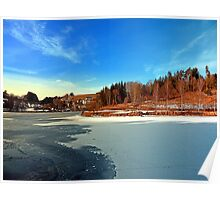 Frozen river panorama | waterscape photography Poster
