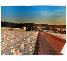 Country road through winter wonderland | landscape photography Poster