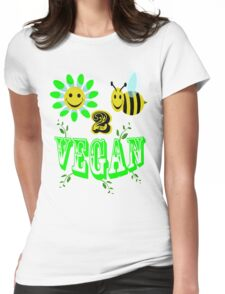 happy 2 bee vegan Womens Fitted T-Shirt