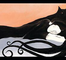 sleeping cat and woman art deco by glitzyfitz
