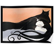 sleeping cat and woman art deco Poster