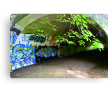 Graffiti in a tunnel Canvas Print