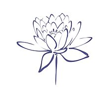 Lotus Flower Calligraphy Print (Blue) by Makanahele