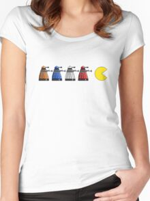 Pixel Daleks vs Pac Man Women's Fitted Scoop T-Shirt