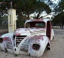 Madura West ,Vintage Car and Petrol Pump ,across the Nullarbor Plain by Virginia  McGowan