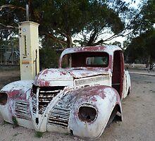 Madura West ,Vintage Car and Petrol Pump ,across the Nullarbor Plain by Virginia  McGowan