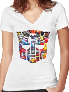 TRANSFORMERS FIGURES!!! Generation 1 Autobot Logo  Women's Fitted V-Neck T-Shirt