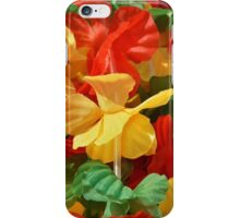 Sunny bright photo with red,yellow and green fabric flowers iPhone Case/Skin
