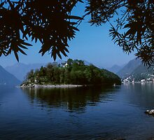 Isola Comacino from Lake Como beach beside S Maria Maddalena Italy 198404260006 by Fred Mitchell