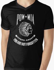 POW-MIA-NA  (White Lettering) Mens V-Neck T-Shirt