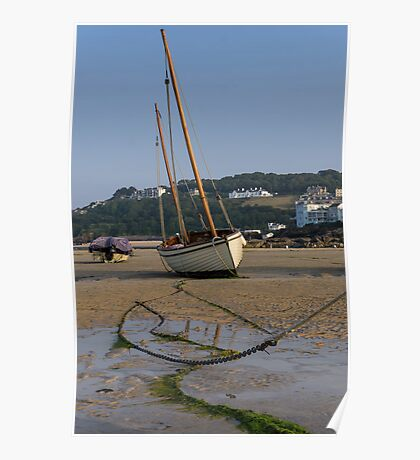 Boat on beach at low tide Poster