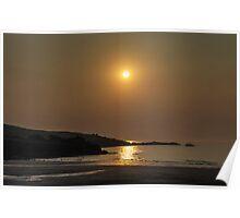Calm hazy sunset over coast Poster