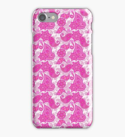 Vintage neon pink purple paisley floral pattern  iPhone Case/Skin