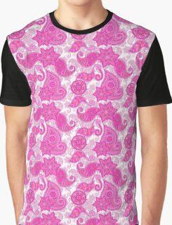 Vintage neon pink purple paisley floral pattern  Graphic T-Shirt