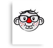 Funny geek nerd geek comic face smiley Canvas Print