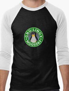Tux : GNU/LINUX FREEDOM Men's Baseball ¾ T-Shirt