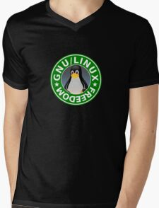 Tux : GNU/LINUX FREEDOM Mens V-Neck T-Shirt