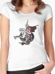 English Knight Fighting Dragon England Flag Shield Retro Women's Fitted Scoop T-Shirt