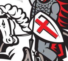 English Knight Fighting Dragon England Flag Shield Retro Sticker