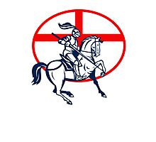English Knight Riding Horse England Flag Circle Retro Photographic Print