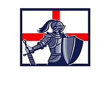 English Knight Holding Sword England Flag Retro Photographic Print