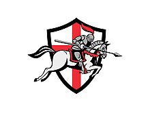English Knight Riding Horse England Flag Retro Photographic Print