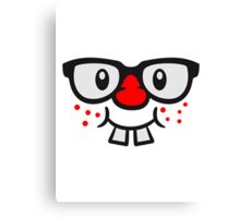 Funny geek nerd geek comic face Canvas Print