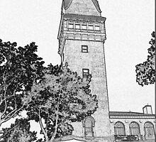 Heublein Tower - Connecticut Sketch Art by CapeCodGiftShop