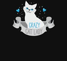 Crazy Cat Lady (White on a banner) Womens Fitted T-Shirt