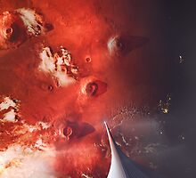 The Space Elevator to Mars - Descent At Dusk by Ludovic Celle