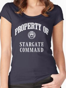 Property of Stargate Command Athletic Wear White ink Women's Fitted Scoop T-Shirt