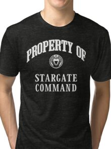 Property of Stargate Command Athletic Wear White ink Tri-blend T-Shirt