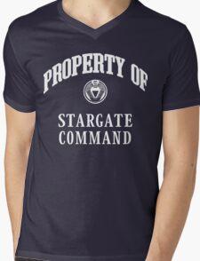 Property of Stargate Command Athletic Wear White ink Mens V-Neck T-Shirt