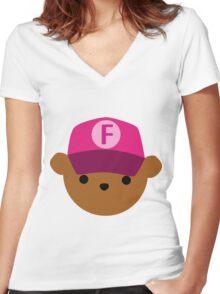 "ABC Bears - ""F Bear"" Women's Fitted V-Neck T-Shirt"