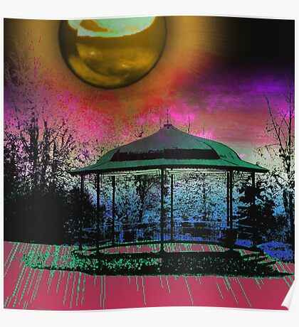 Shiney moon above bandstand Poster