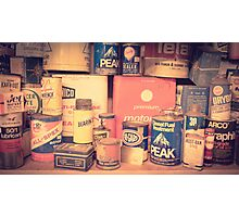 Vintage gas service station products Photographic Print