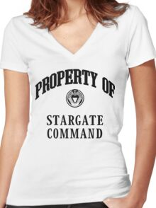Property of Stargate Command Athletic Wear Black ink Women's Fitted V-Neck T-Shirt