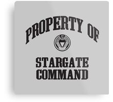 Property of Stargate Command Athletic Wear Black ink Metal Print