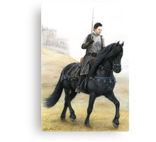 Joining the Warband - Knight on Friesian Horse Canvas Print