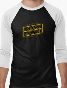 Happy May the 4th! (Yellow-Slanted) Men's Baseball ¾ T-Shirt