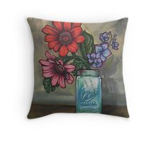 morning coffee with daisies Throw Pillow