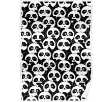 Some Pandas on Black Poster