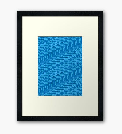 Video Game Controllers - Blue Framed Print