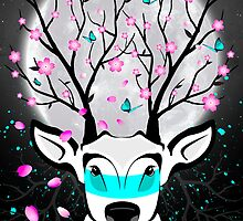 Roots To Grow and Wings To Fly (Cherry Blossom Deer) by soaringanchor