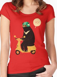 scooter bear Women's Fitted Scoop T-Shirt